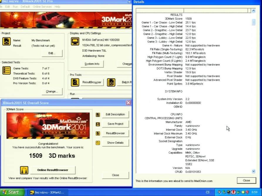 3D Mark 2001 SE - Asus V7100 Magic GeForce2 100/200 32MB