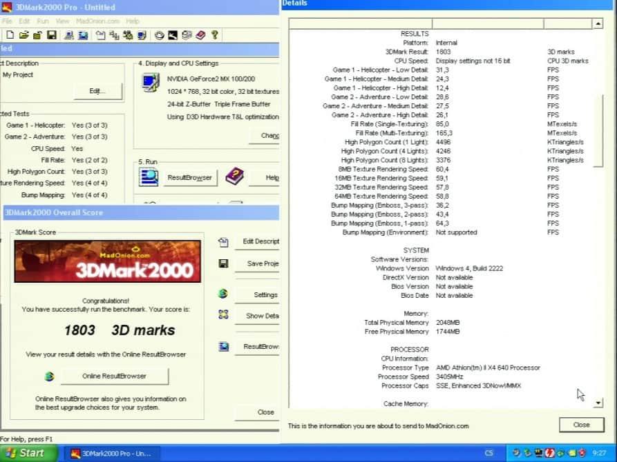 3D Mark 2000 - Asus V7100 Magic GeForce2 100/200 32MB