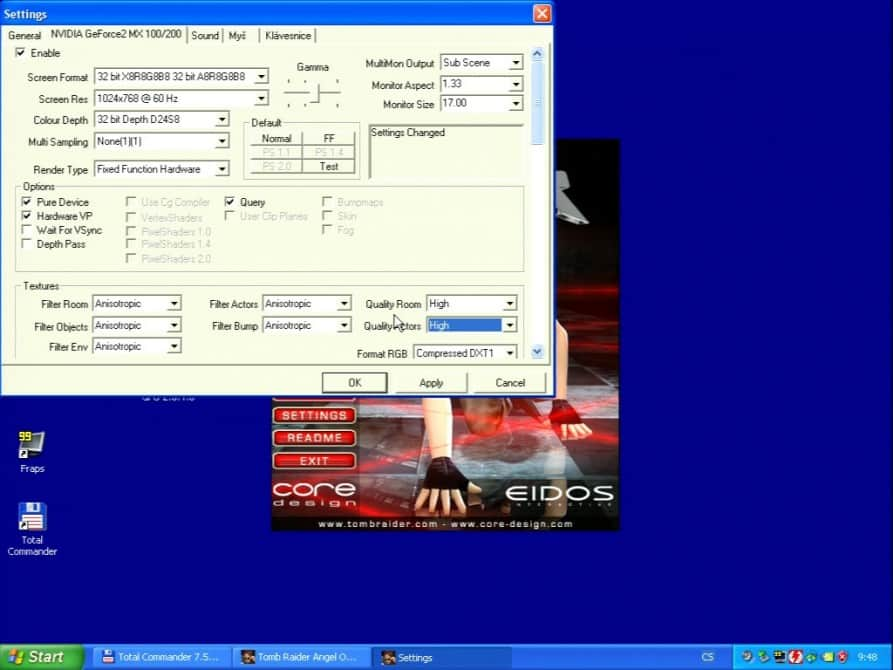 Tomb Raider – The Angel of Darkness  (nastavení) - Asus V7100 Magic GeForce2 100/200 32MB