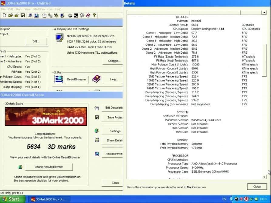 3D Mark 2000 - nVidia GeForce2 GTS 32MB DDR - Asus V7700 DELUXE
