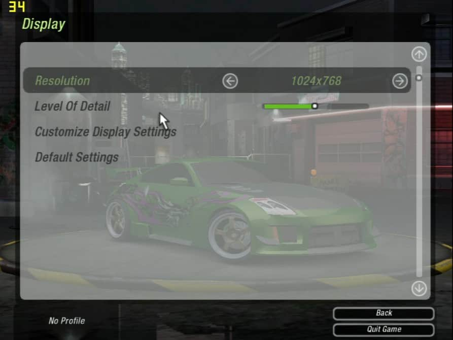 Need For Speed Underground 2 (nastavení) - nVidia GeForce2 GTS 32MB DDR - Asus V7700 DELUXE