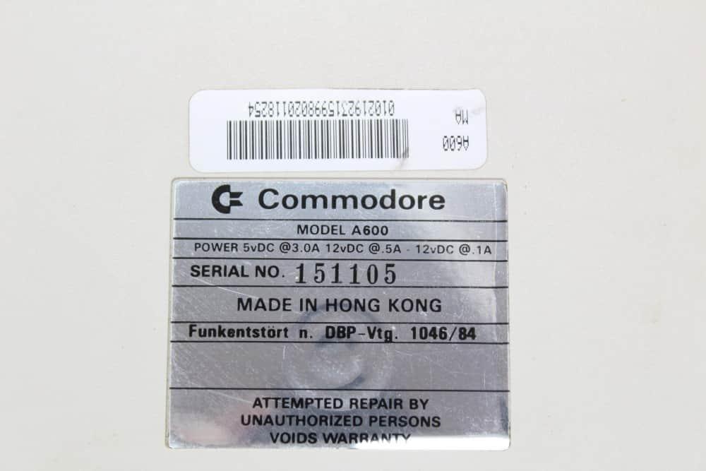 Commodore Amiga 600 - štítek
