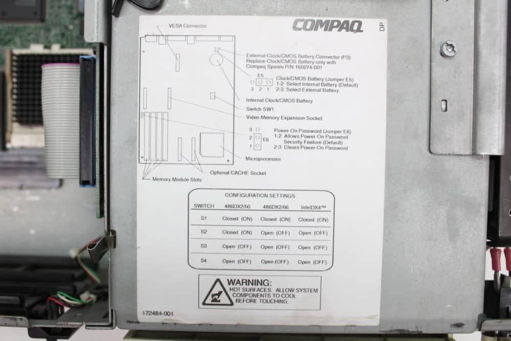 Compaq Deskpro 466 - Nálepka s nastavením základní desky