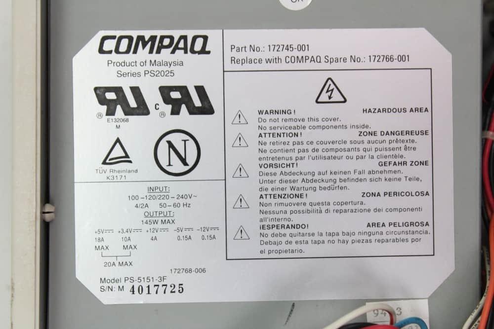 Compaq Deskpro 466 - Štítek na zdroji