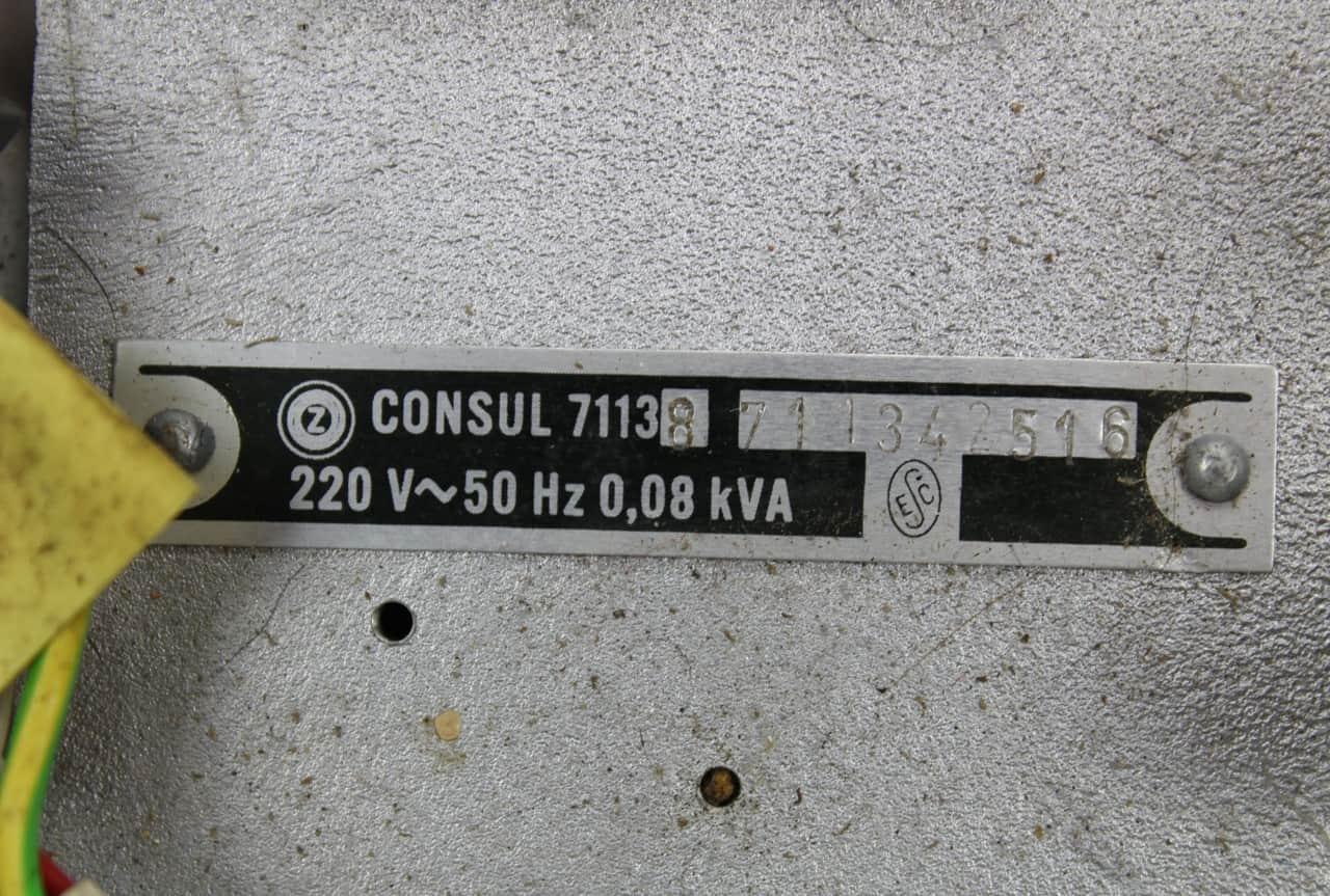 Štítek na 8 palcové mechanice Consul 7113