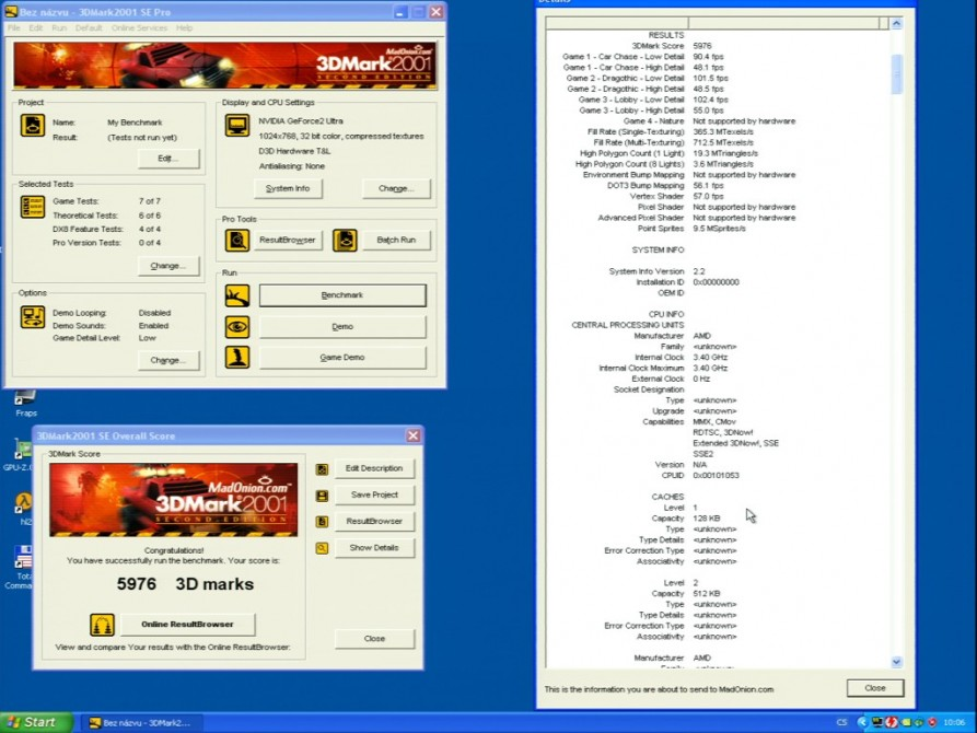3D Mark 2001 - nVidia GeForce2 Ultra 64MB DDR - Creative Annihilator2 Ultra GB0040