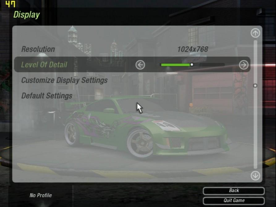 Need For Speed Underground 2 (nastavení) - nVidia GeForce2 Ultra 64MB DDR - Creative Annihilator2 Ultra GB0040