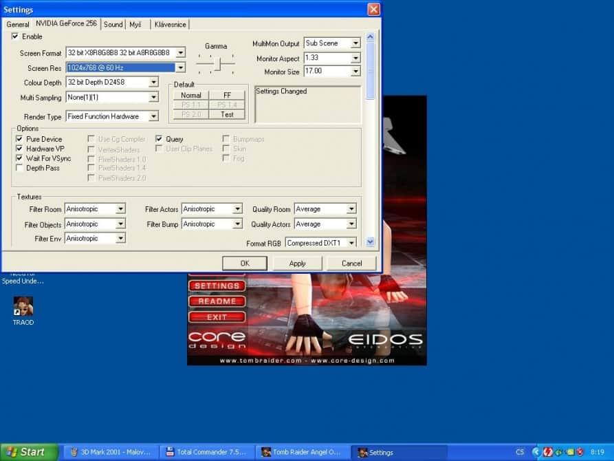 Tomb Raider – The Angel of Darkness  (nastavení) - nVidia GeForce 256 32MB SDRAM - Creative CT6940
