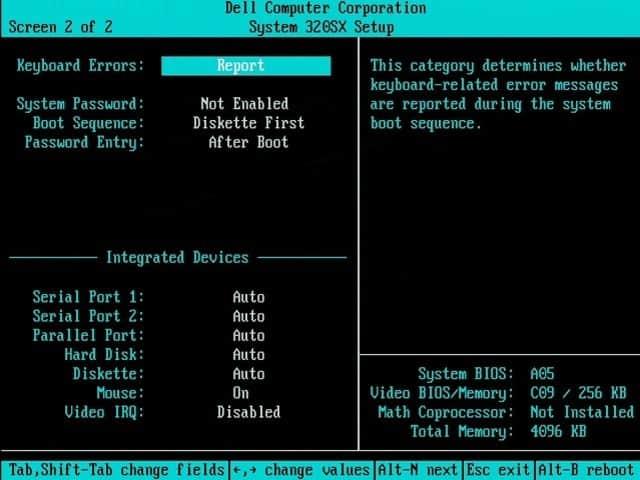 DELL 320SX - BIOS