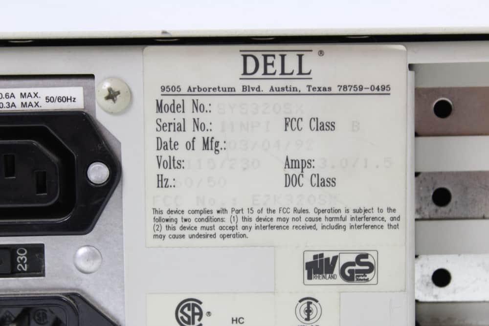 DELL 320SX - Štítek