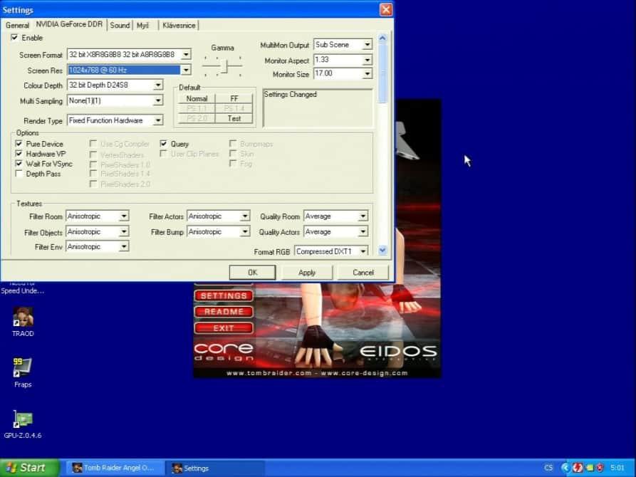 Tomb Raider – The Angel of Darkness  (nastavení) - nVidia GeForce 256 32MB SGRAM - ELSA Erazor X2-A32