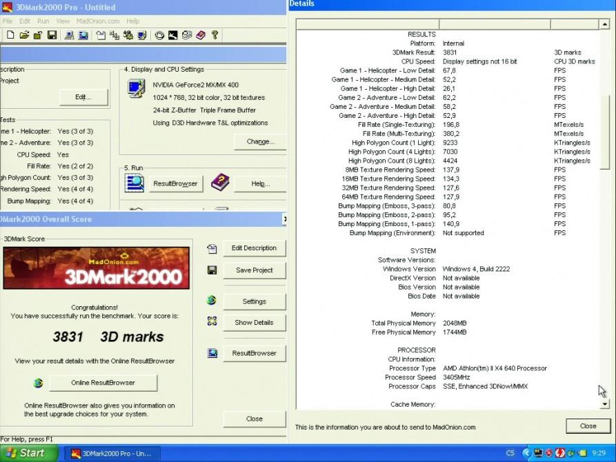 3D Mark 2000 - nVidia GeForce2 MX400 32MB SDRAM - Hercules 3D Prophet II MX