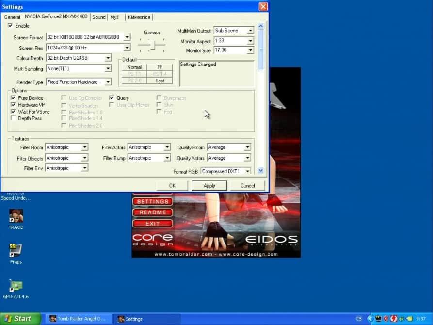 Tomb Raider – The Angel of Darkness  (nastavení) - nVidia GeForce2 MX400 32MB SDRAM - Hercules 3D Prophet II MX