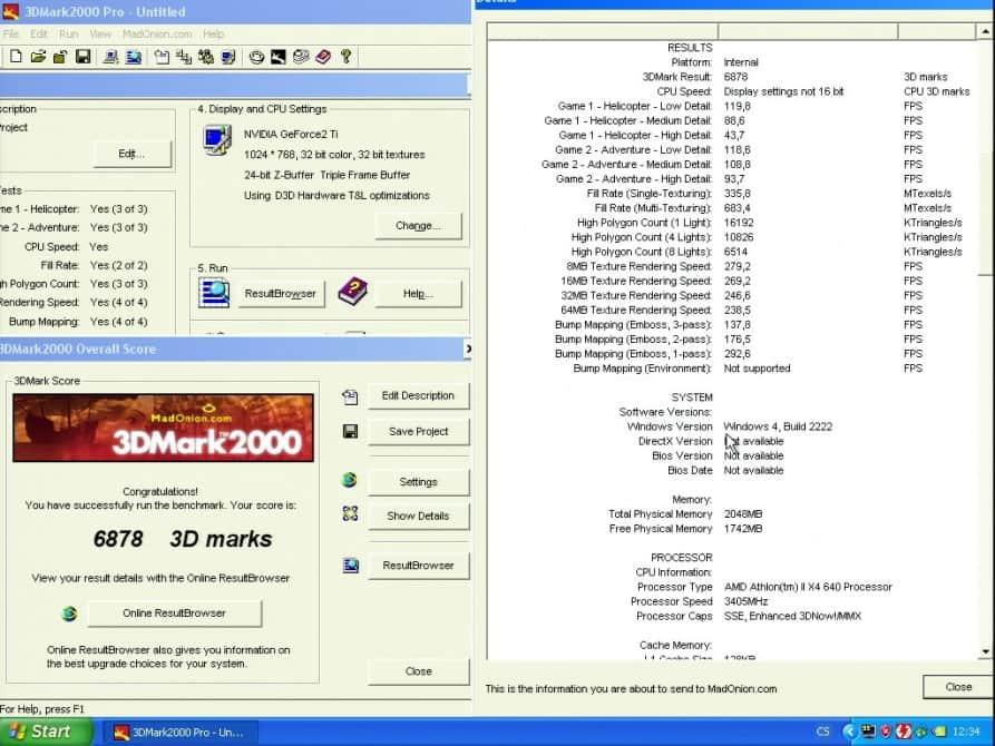 3D Mark 2000 - nVidia GeForce2 TI 64MB DDR - Hercules 3D Prophet II TI