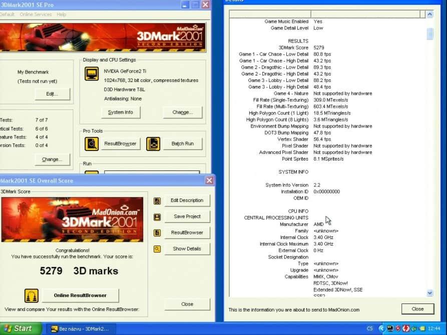 3D Mark 2001 - nVidia GeForce2 TI 64MB DDR - Hercules 3D Prophet II T
