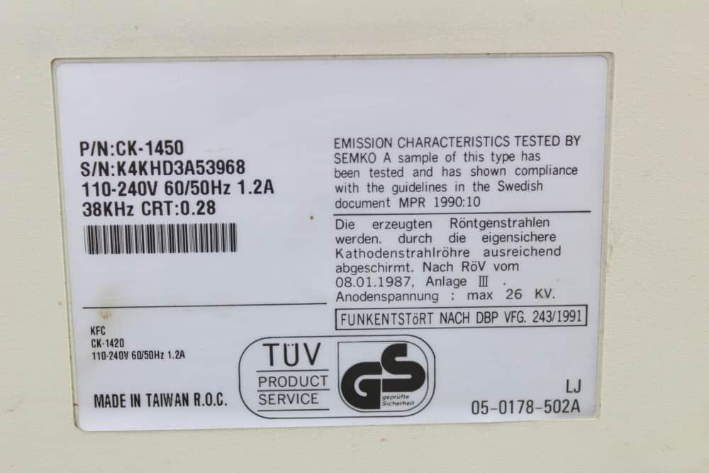 Highscreen Kompakt Serie-III 286 16MHz - Štítek na monitoru