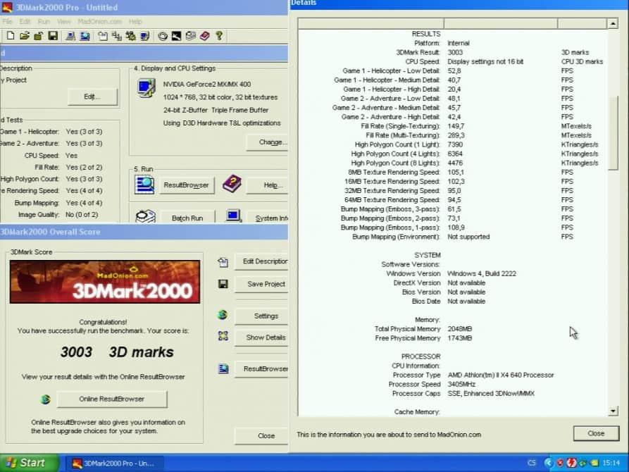 3D Mark 2000 - nVidia GeForce2 MX 400 64MB SDRAM - Palit 2852