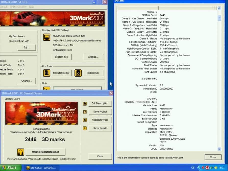 3D Mark 2001 - nVidia GeForce2 MX 400 64MB SDRAM - Palit 2852