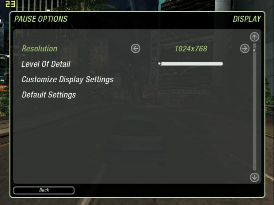 Need For Speed Underground 2 (nastavení) - nVidia GeForce2 MX 400 64MB SDRAM - Palit 2852