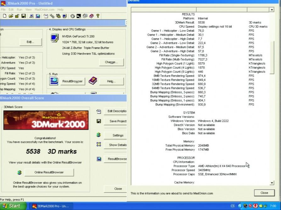 3D Mark 2000 - nVidia GeForce3 TI200 64MB DDR - Sparkle SP7000