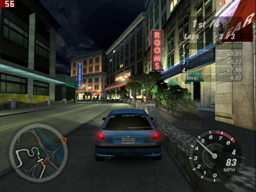 Need For Speed Underground 2 (výsledek s nižšími detaily) - nVidia GeForce3 TI200 64MB DDR - Sparkle SP7000