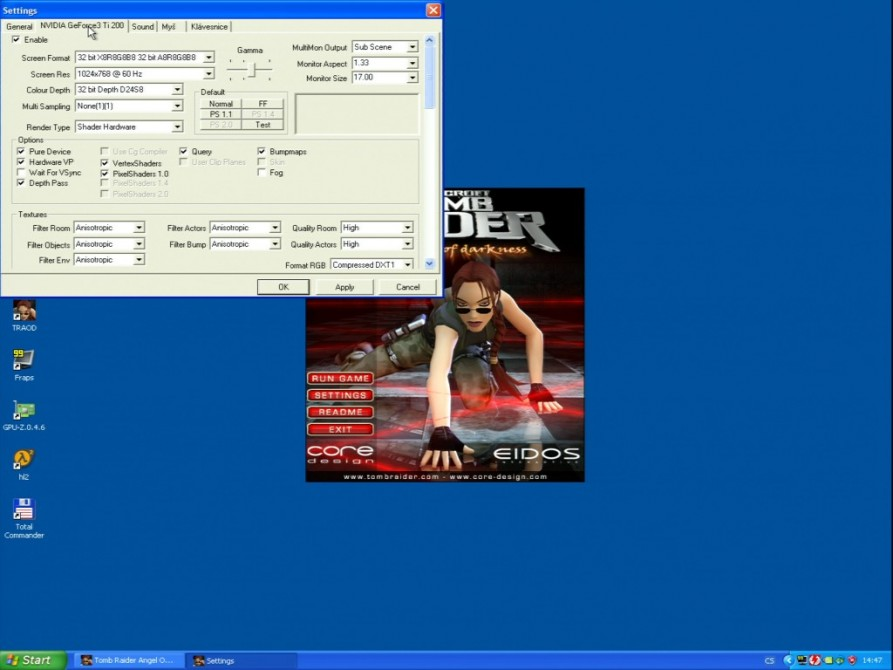 Tomb Raider – The Angel of Darkness  (nastavení) - nVidia GeForce3 TI200 64MB DDR - Sparkle SP7000