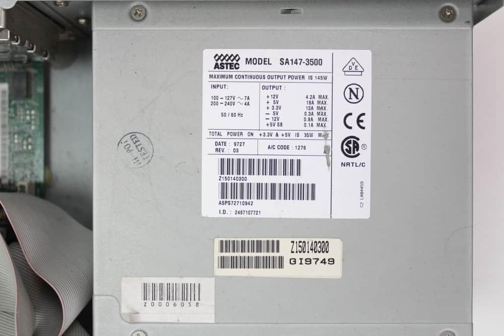 Zenith Data System Z-Station EL - Štítek na zdroji
