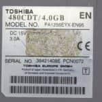 Štítek - Toshiba Satellite Pro 480CDT